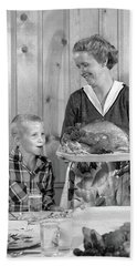 1950s Woman In Apron Putting Turkey Hand Towel