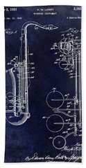 1951 Saxophone Patent Drawing Blue Hand Towel