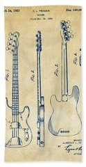 Bath Towel featuring the digital art 1953 Fender Bass Guitar Patent Artwork - Vintage by Nikki Marie Smith