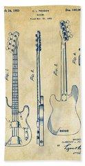 1953 Fender Bass Guitar Patent Artwork - Vintage Hand Towel by Nikki Marie Smith