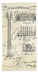 1955 Gibson Les Paul Patent Drawing Hand Towel by Gary Bodnar
