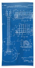 Bath Towel featuring the digital art 1955 Mccarty Gibson Les Paul Guitar Patent Artwork Blueprint by Nikki Marie Smith