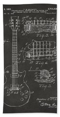 1955 Mccarty Gibson Les Paul Guitar Patent Artwork - Gray Hand Towel