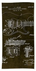 1956 Fender Tremolo Patent Drawing II Hand Towel by Gary Bodnar