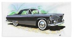 1956 Ford Thunderbird  Black  Classic Vintage Sports Car Art Sketch Rendering         Hand Towel