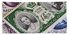 1956 Princess Grace Of Monaco Stamp Hand Towel by Bill Owen