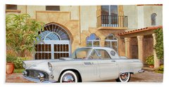 1956 Thunderbird At Palm Beach  Classic Vintage Ford Art Sketch Rendering          Bath Towel