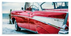 Bath Towel featuring the photograph 1957 Chevy Bel Air by Edward Fielding