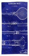 1957 Landing Net Patent Drawing Blue Bath Towel