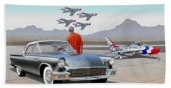 1957 Thunderbird  With F-84 Gunmetal Vintage Ford Classic Art Sketch Rendering           Hand Towel