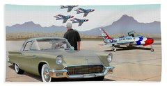 1957 Thunderbird  With F-84 Thunderbirds Inca Vintage Ford Classic Art Sketch Rendering            Bath Towel