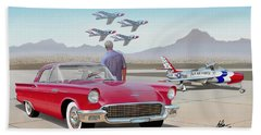 1957 Thunderbird  With F-84 Thunderbirds  Red  Classic Ford Vintage Art Sketch Rendering         Bath Towel