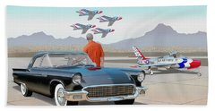 1957 Thunderbird  With F-84 Thunderbirds Vintage Ford Classic Car Art Sketch Rendering          Bath Towel
