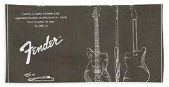 1958 Fender Electric Guitar Patent Art 2 Hand Towel