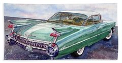 Bath Towel featuring the painting 1959 Cadillac Cruising by Anna Ruzsan