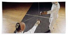 1960s 2 Men Fencing Crossed Swords Hand Towel