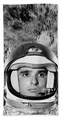 1960s Astronaut Montage Portrait Moon Hand Towel
