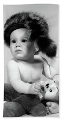 1960s Baby Wearing Coonskin Hat Hand Towel