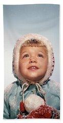 1960s Little Girl Holding Snow Ball Hand Towel