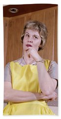 1960s Thoughtful Housewife Wearing Hand Towel