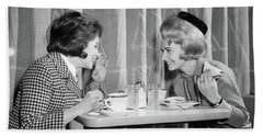 1960s Two Women Gossiping At Lunch Hand Towel