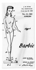 1961 Barbie Doll Patent Art 4 Hand Towel