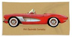 1961 Chevrolet Corvette Bath Towel