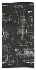 1961 Fender Guitar Patent Artwork - Gray Bath Towel