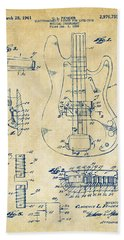 Bath Towel featuring the digital art 1961 Fender Guitar Patent Artwork - Vintage by Nikki Marie Smith