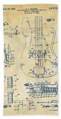 1961 Fender Guitar Patent Artwork - Vintage Bath Towel