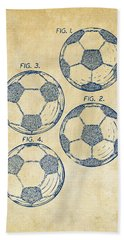 1964 Soccerball Patent Artwork - Vintage Hand Towel by Nikki Marie Smith