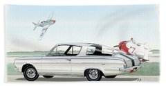 1965 Barracuda  Classic Plymouth Muscle Car Bath Towel