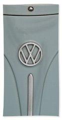 Bath Towel featuring the photograph 1965 Volkswagen Beetle Hood Emblem by Jani Freimann