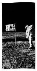 1969 Astronaut Us Flag And Leg Of Lunar Hand Towel