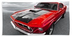 1969 Red 428 Mach 1 Cobra Jet Mustang Hand Towel
