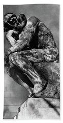 1970s Bronze Statue Of Rodins Thinker Hand Towel