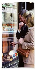 1970s Couple Man Woman Window Shopping Hand Towel