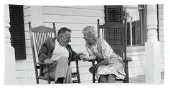 1970s Elderly Couple In Rocking Chairs Bath Towel