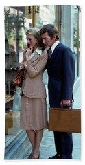 1970s Man Woman Couple Window Shopping Hand Towel