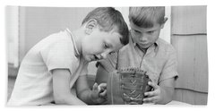 1970s Two Boys Seriously Inspecting New Bath Towel