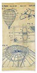 1987 Hot Air Balloon Patent Artwork - Vintage Hand Towel