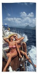 1990s Couple Sitting On Bow Of Sailboat Bath Towel