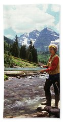 1990s Mature Woman Fly Fishing Bath Towel