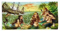 19th C. Mermaids At Ship Wreck Hand Towel