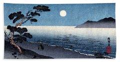 19th C. Moonlit Japanese Beach Hand Towel