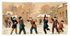 19th C. Snowball Fight Hand Towel