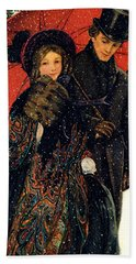 19th C. Young Couple In Winter Hand Towel