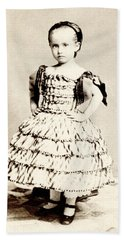Hand Towel featuring the photograph 1865 Defiant American Girl by Historic Image