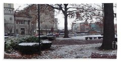 1st Snow Public Square Bath Towel by Christina Verdgeline