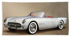 1953 Corvette Classic Vintage Sports Car Automotive Art Bath Towel